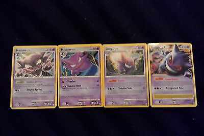 Set Of Four Rare Pokemon Cards - Two Haunters And Two Gengars - 1 Very Rare Lv.x