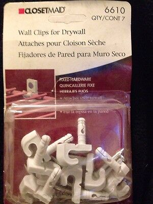 Wire Shelf Wall Clips For Drywall 6610 Closetmaid White 7 Count Fixed Hardware