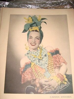Old Vintage Color Paper Print Of  Hollywood Actress Carmen Miranda  from USA1940