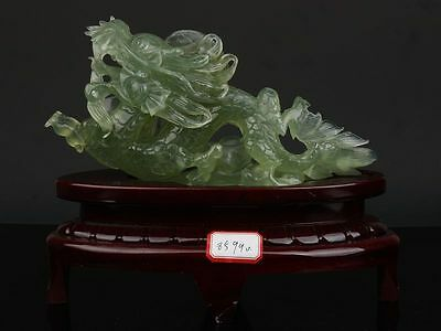 Exquisite Chinese natural xiuyan jade hand carved Dragon statue