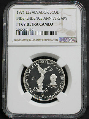 El Salvador 1971 Independence 150th Anniversary 5 Coloesn Silver Coin NGC PF67