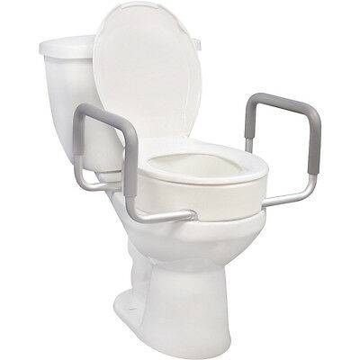 Elongated Seat Riser With Removable Arms Toilet Set Raised Portable Medical Help