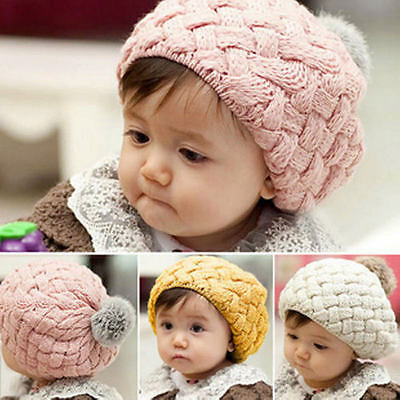 Cute Baby Winter Warm Toddler Knitted Crochet Beanie Kids Girls Hat Beret Cap