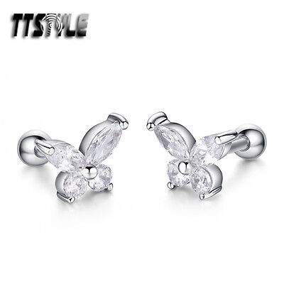 TTstyle Surgical Steel Butterfly Fake Ear Cartilage Tragus Earrings A Pair NEW