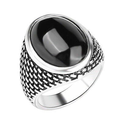Men's Silver Plated Triple AAA Onyx Resin, Tumbled Mosaic Brick Style Ring! NEW!