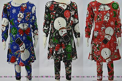 Kids Childrens Girls Snowman Festive Christmas Suit Swing Dress Leggings Set