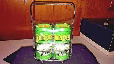 Metal John Deere Salt & Pepper Shaker Set (Tins) With Carrier