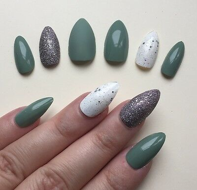 Hand Painted False Nails STILETTO. Full Cover. Olive Sage Green Matte Gloss. UK