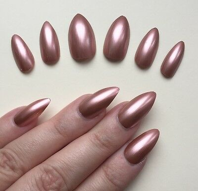 Hand Painted False Nails STILETTO (or ANY SHAPE) Rose Gold Chrome effect Bronze.