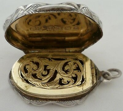 Wonderfully Original Victorian Silver Gilded Vinaigrette, Bir'ham 1880, 33mm 14g