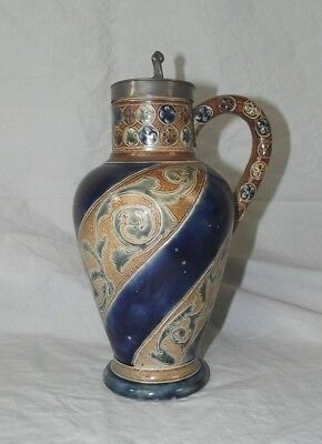A c1870 Pewter Art Pottey Ewer Jug - Fulham, Martin Brothers, Doulton