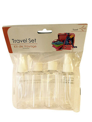 4 Piece Travel Holiday Liquid Bottles Clear Cosmetic Airport 3 x 50ml Containers