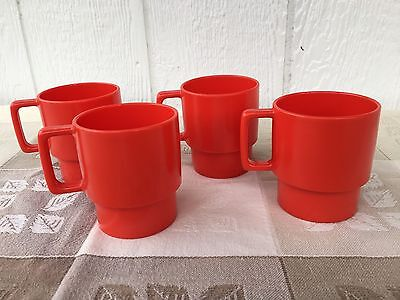 Texas Ware 4 Vintage Red Cups