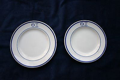 2 Mayer Omega Xi BB or Dessert Plates Blue Trim. Free shipping
