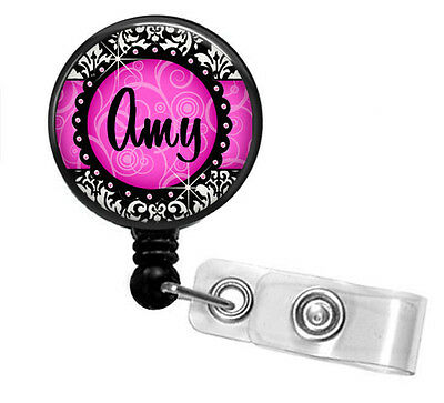 Hot Pink Skull Day Of The Dead Retractable Reel ID Badge Holder Lanyard Fancycap