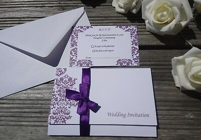 70p Personalised Wedding Invitations ANY COLOUR Day/Evening-FREE RSVPs