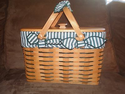 Longaberger 1998 Sweetheart Cherished Memories Basket Set with Lid - Green