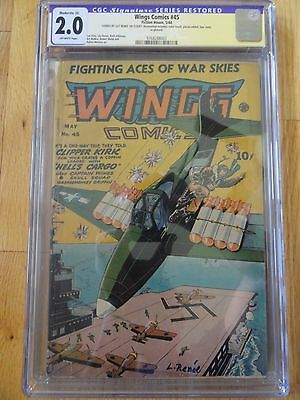 Wings Comics # 45 CGC Graded Golden age