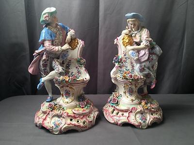 So Rare to Find 2 AntQ French Charles Levy Figural Courting Couples Figurines