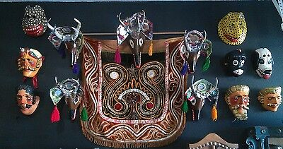 Dance of the Deer Masks and Textile  Mid 20th century 13 Guatemalan Masks )