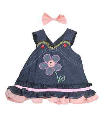 """Pretty Denim Summer Dress Teddy clothes / outfit to fit 8"""" bear factory bears"""