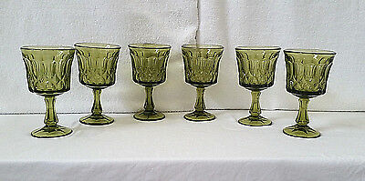 Lot of 6 Avocado Green Glass Goblets NICE! VG++