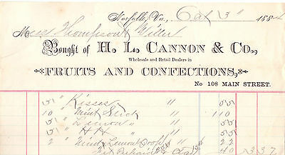1874 Billhead Norfolk Virginia HL Cannon Fruits and Confections