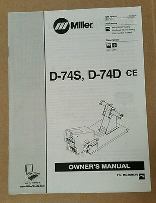 Miller Electric Owner's Manual D-74S D-74D CE OM-1500-6