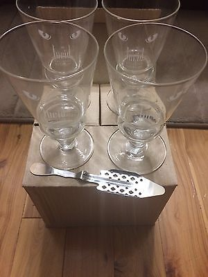 Lucid Absinthe Suprieure 4 Glass Goblets & Lucid Decorative Metal Mixing Spoon