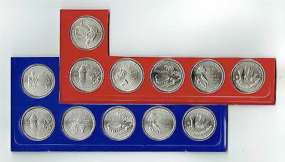 "A COMPLETE 2009 P&D 12 Coin ""BU"" Territorial Quarter Set in U.S. Mint Cello"