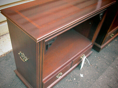 53783 LANE Mahogany Banded Inlaid Top Open Bookcase Curio Cabinet Brass Hardware