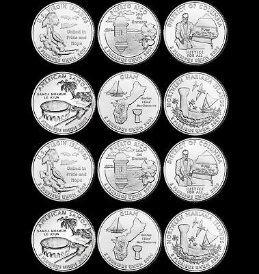 "A COMPLETE 2009 P&D 12 Coin ""Brilliant Uncirculated"" Territorial Quarter Set"