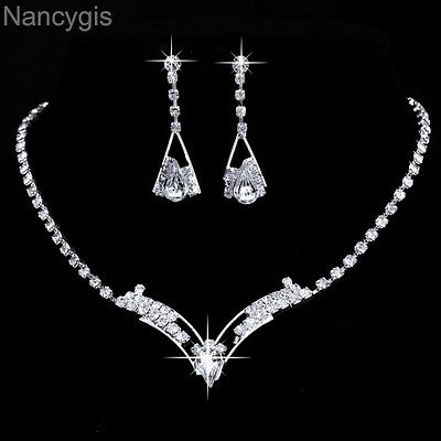 Silver Plated Crystal V Shaped Necklace and Earrings Party Wedding Jewellery Set