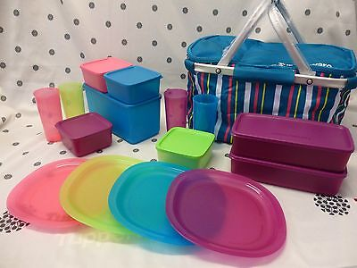 Tupperware 16 Piece Oceanic Picnic Set with Insulated Basket  NEW!