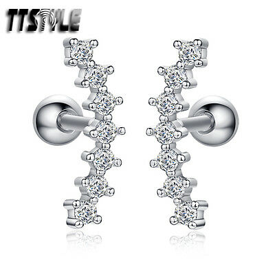 TTstyle Surgical Steel Multi CZ Fake Ear Cartilage Tragus Earrings A Pair NEW