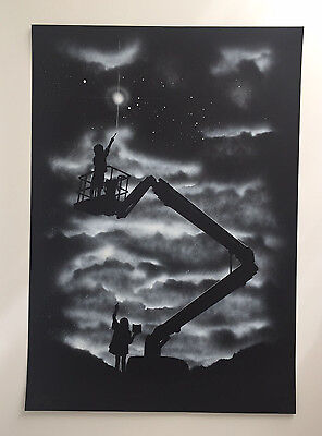 Reach (Special Black Edition) by John Doe (limited edition hand painted print)