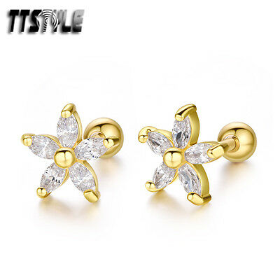 TTstyle Gold Surgical Steel Clear CZ Flower Cartilage Tragus Earrings A Pair