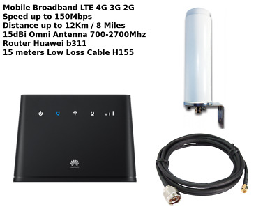 Mobile Broadband Antenna Aerial Booster LTE 4G 15M Huawei E5172 Boat Motorhome