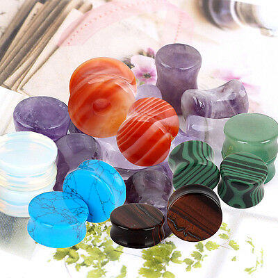 Pair Organic Natural Stone Ear Plug Flesh Tunnel Double Flare Piercing 4g-11/16""