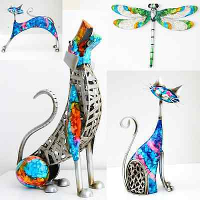 Amazing Handcrafted Metal Iron Sculpture Home Decor Gift Idea Dog Cat Dragonfly