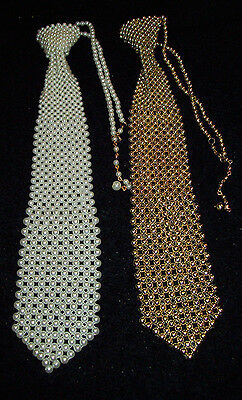 Vintage Lot of (2) PEARL WHITE & GOLD BEADED Pearl Bling Neck Tie's Unisex Ties