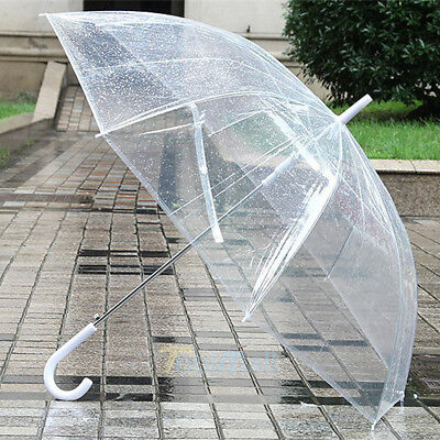 Large Transparent Clear Dome See Through Umbrella With White Handle New 2018