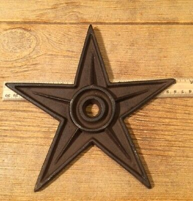 "One Center Hole Texas Star Rustic Cast Iron X-Large Decor 9"" 02105"