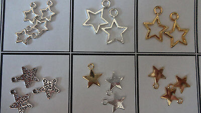 Various Style Lovely Bright Silver Tibetan Star Charms Pendants Decor & crafts