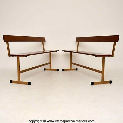 PAIR OF RETRO TEAK FOLDING BENCHES BY LADDERAX VINTAGE 1960's
