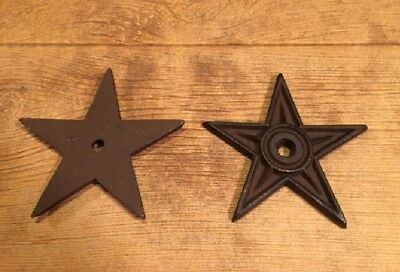 "Center Hole Texas Star Rustic Cast Iron Large 6 1/2"" wide (Set of 2) 0170-02106"
