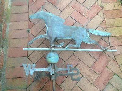 Vintage Large Handmade Copper Horse Weathervane Complete w/ Ball & Directionals
