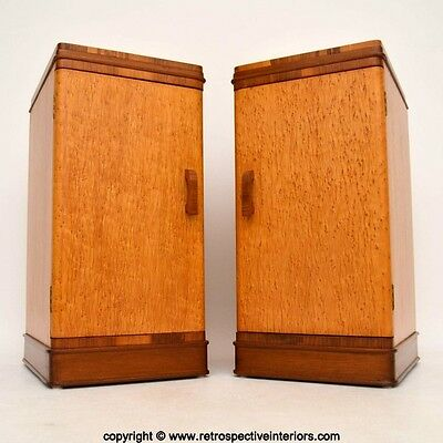 PAIR OF ART DECO MAPLE & WALNUT BEDSIDE CABINETS VINTAGE 1920's