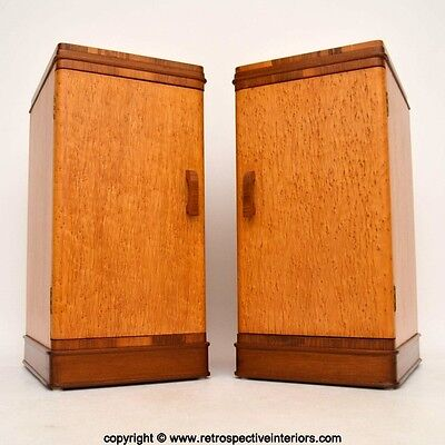 PAIR OF ART DECO MAPLE & WALNUT BEDSIDE CABINETS VINTAGE 1920's • £395.00