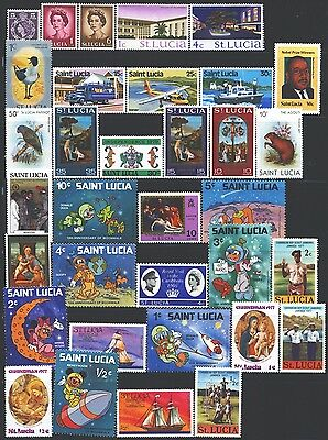ST. LUCIA Collection of 34 MNH 1953-2017 Era All Different